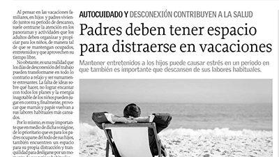 Padres deben tener espacio para distraerse en vacaciones – El Sur, Tendencias