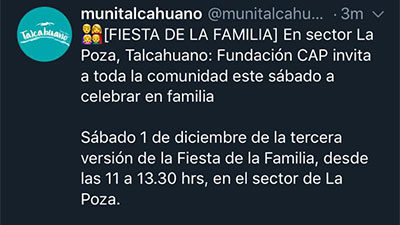 Fiesta de la Familia – Twitter Municipalidad de Talcahuano