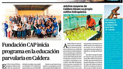 Fundación CAP Inicia programa en la educación parvularia en Caldera- El Mercurio de Atacama